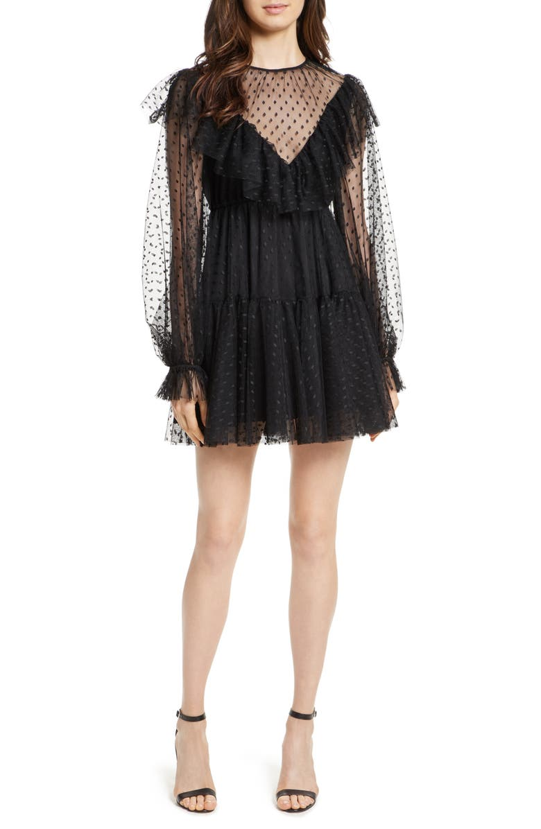 MILLY Dot Tulle Victorian Dress, Main, color, Black