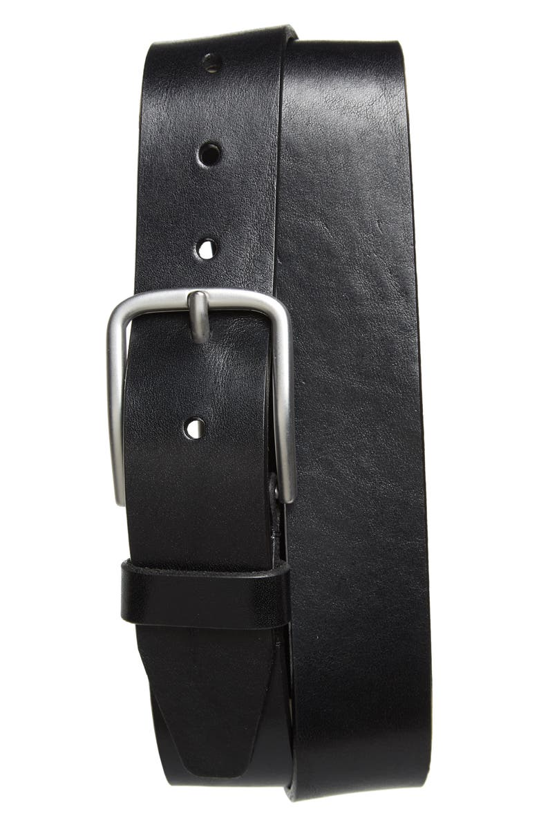 NORDSTROM Rhodes Leather Belt, Main, color, BLACK