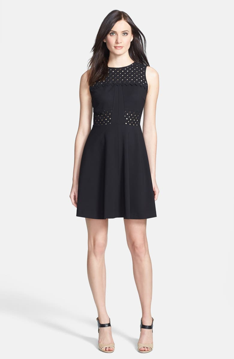 REBECCA TAYLOR 'Aline' Eyelet Accent Fit & Flare Dress, Main, color, 001