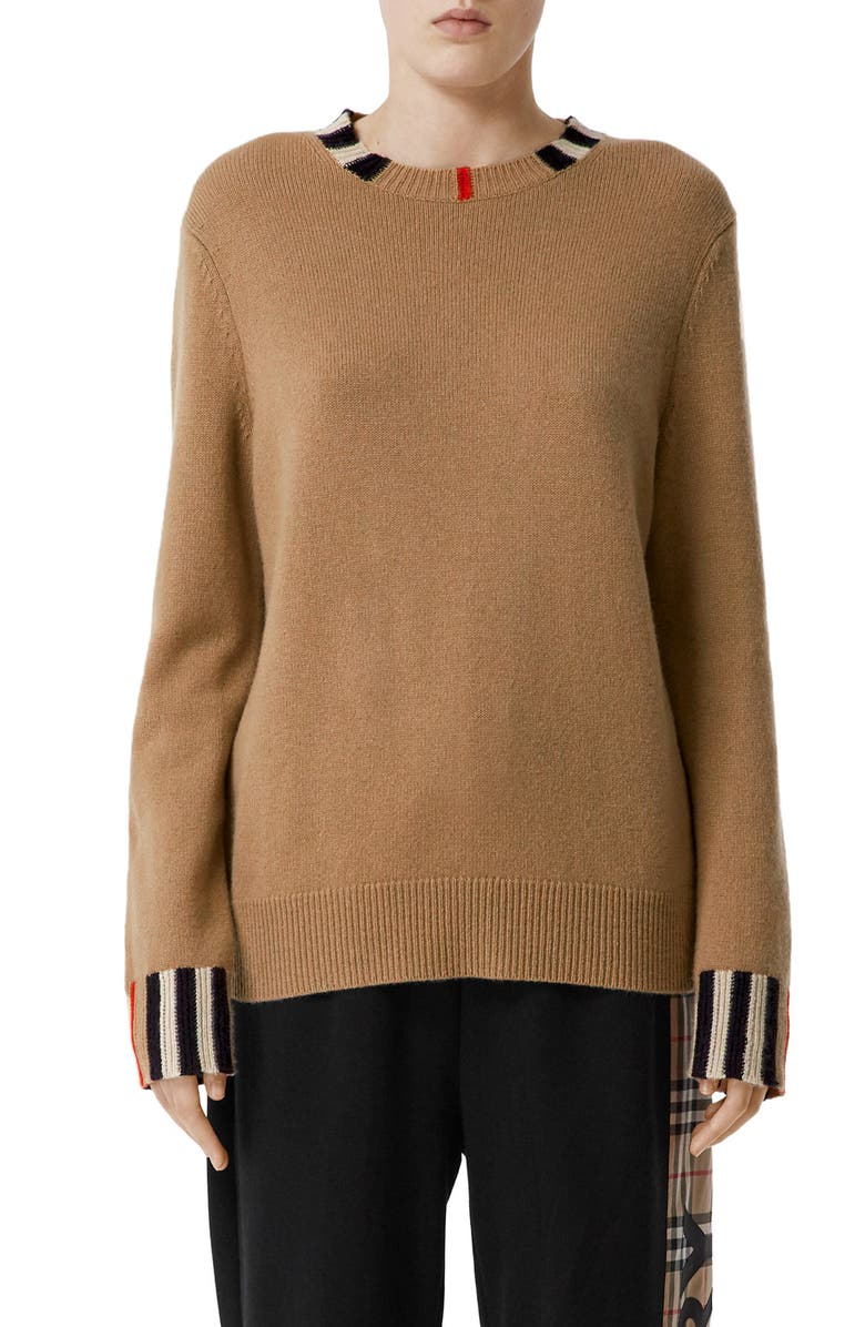 BURBERRY Eyre Cashmere Sweater, Main, color, ARCHIVE BEIGE