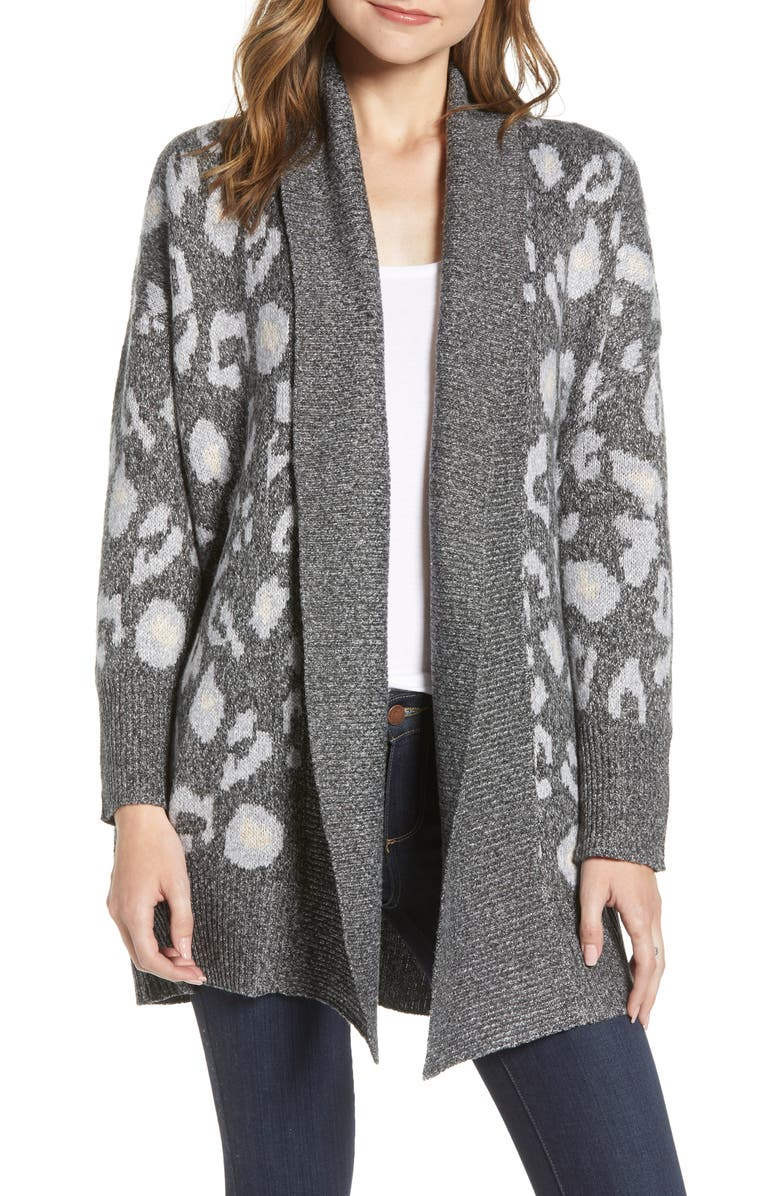CUPCAKES AND CASHMERE Leopard Pattern Long Cardigan, Main, color, 030