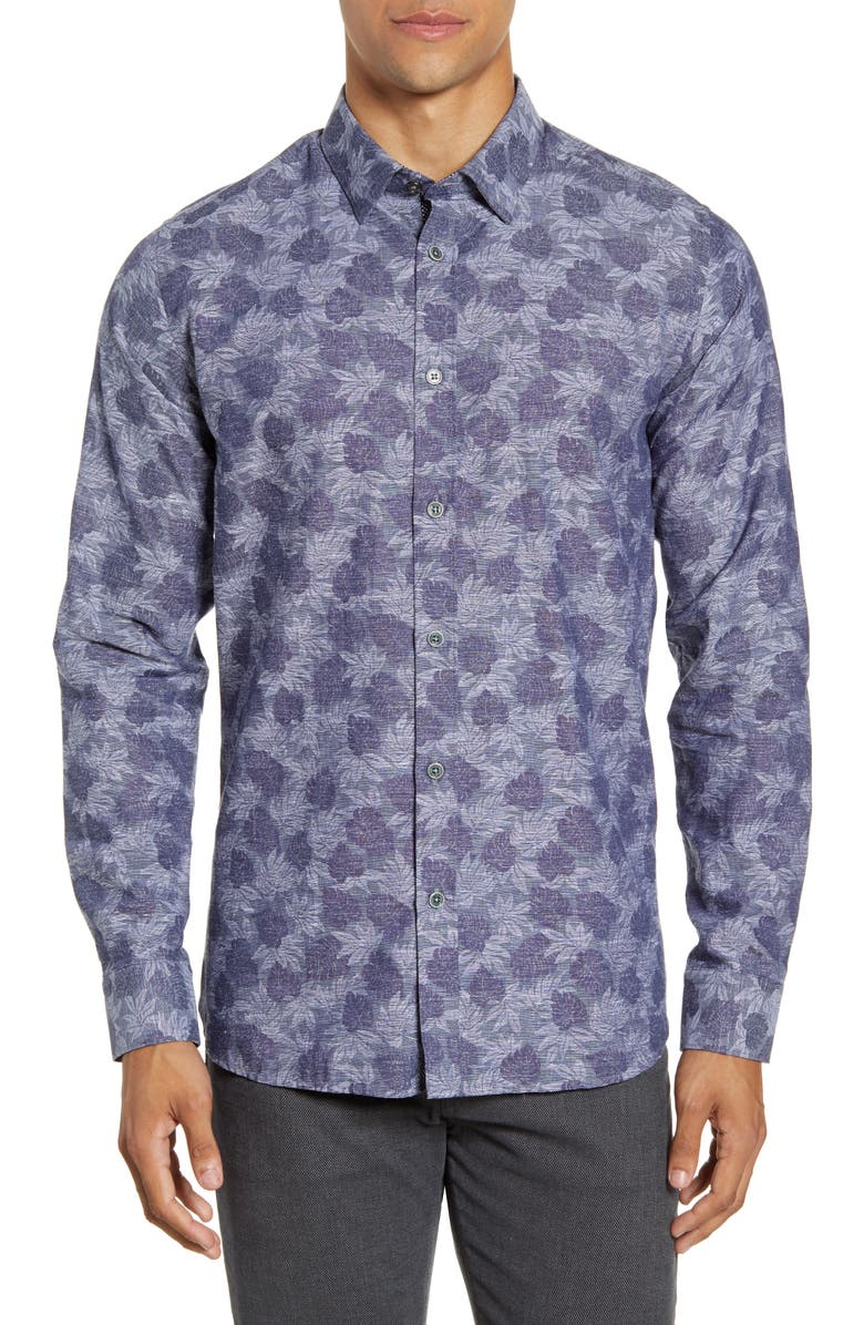 TED BAKER LONDON Slim Fit Palm Jacquard Button-Up Shirt, Main, color, 410