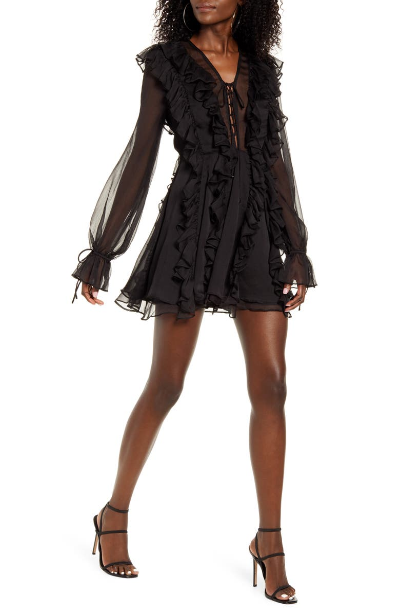ENDLESS ROSE Ruffle Tie Front Long Sleeve Minidress, Main, color, 001