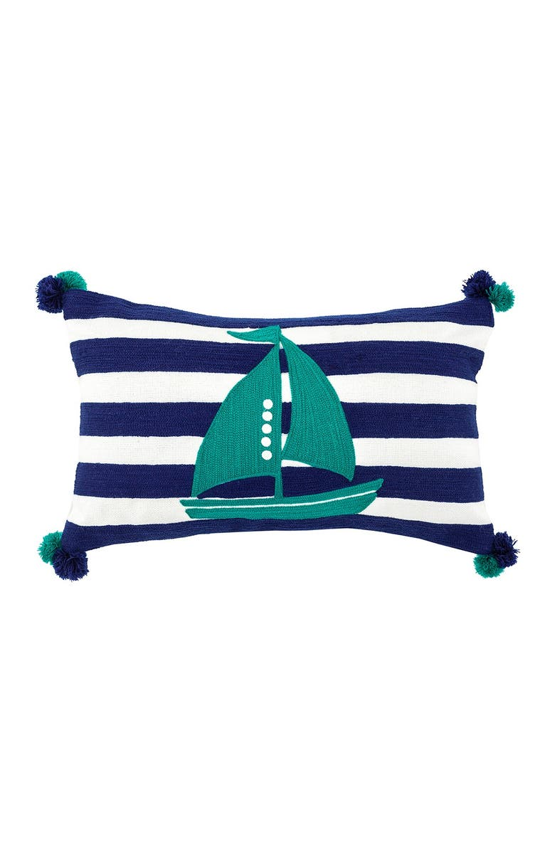 """DIVINE HOME Embroidered Sailboat Outdoor Pillow - 12"""" x 20"""" - Navy/Seafoam Green, Main, color, NAVY / SEAFOAM GREEN"""