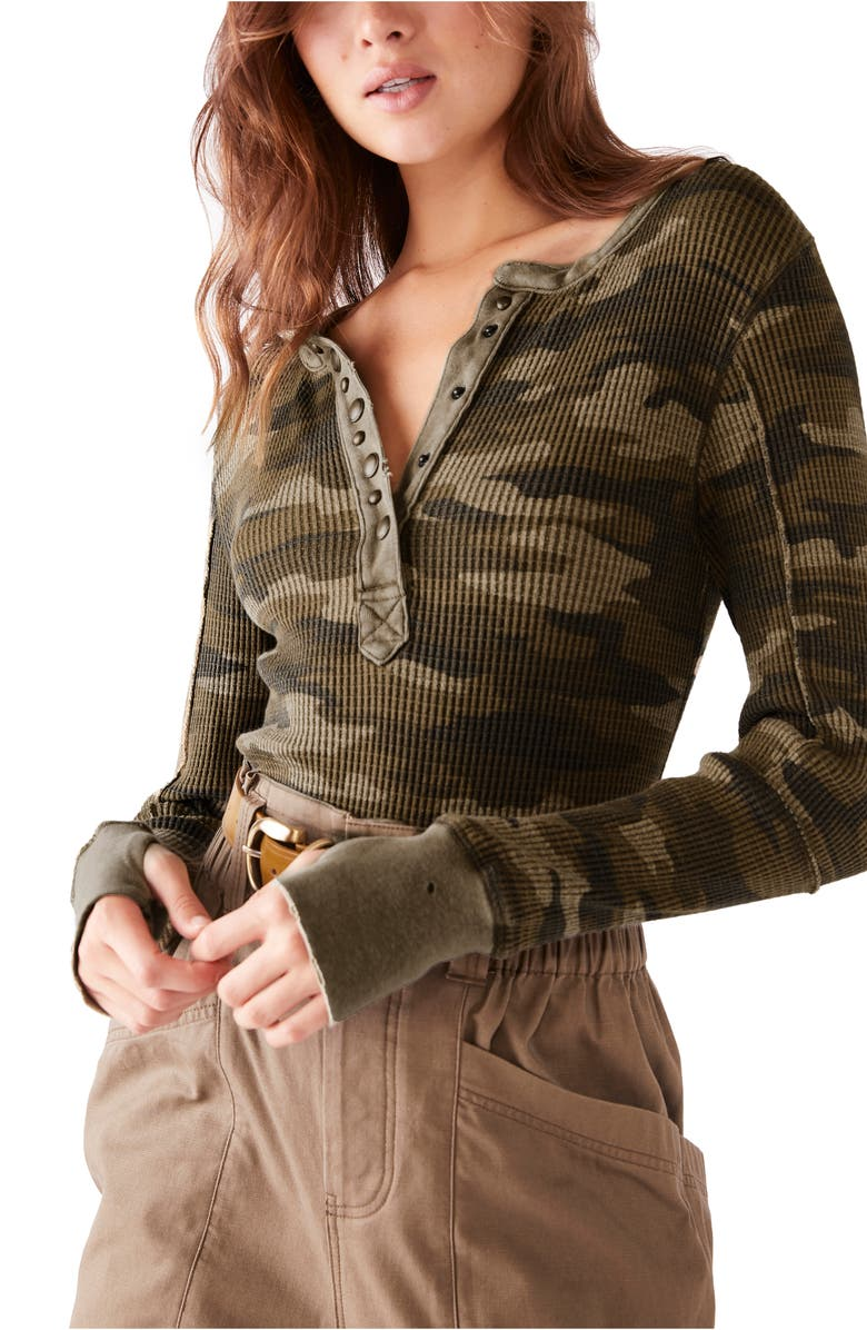 FREE PEOPLE Everest Thermal Henley, Main, color, CAMO COMBO