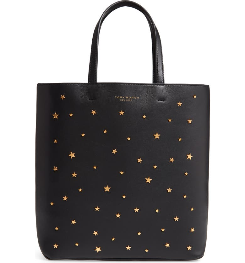 TORY BURCH Small Star Studded Leather Tote, Main, color, Black