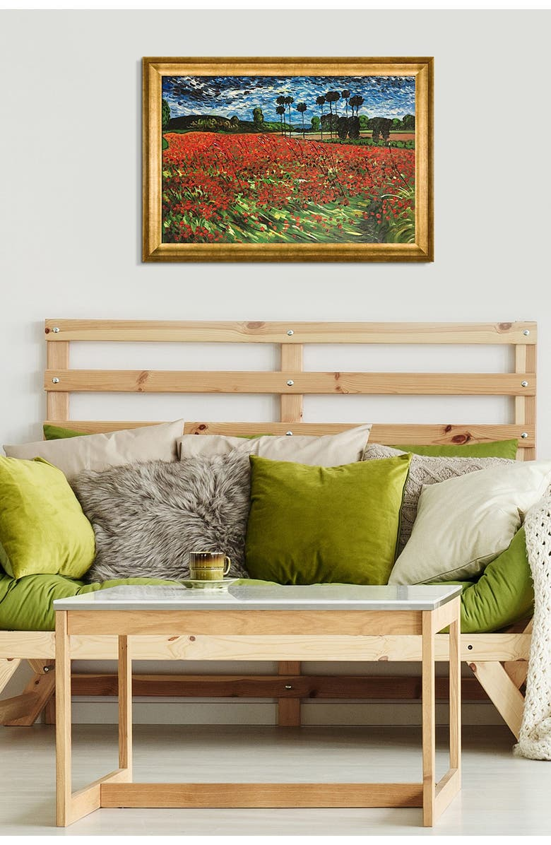 OVERSTOCK ART Field of Poppies - Framed Oil reproduction of an original painting by Vincent Van Gogh, Main, color, MULTI