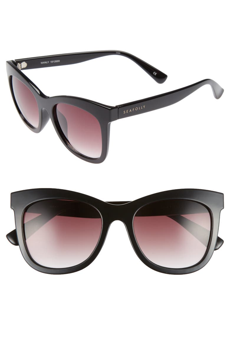 SEAFOLLY Manly 52mm Cat Eye Sunglasses, Main, color, 001