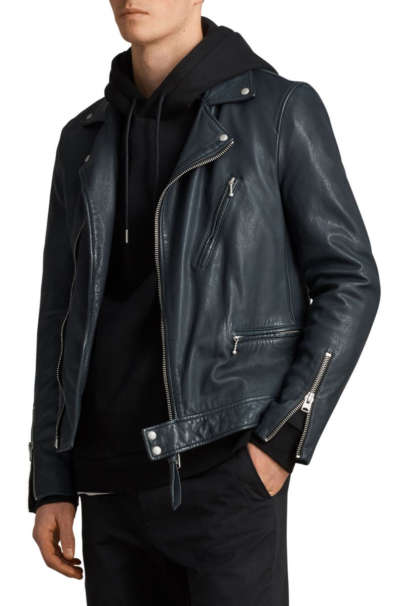 ALLSAINTS Carver Slim Fit Leather Biker Jacket, Main, color, 431