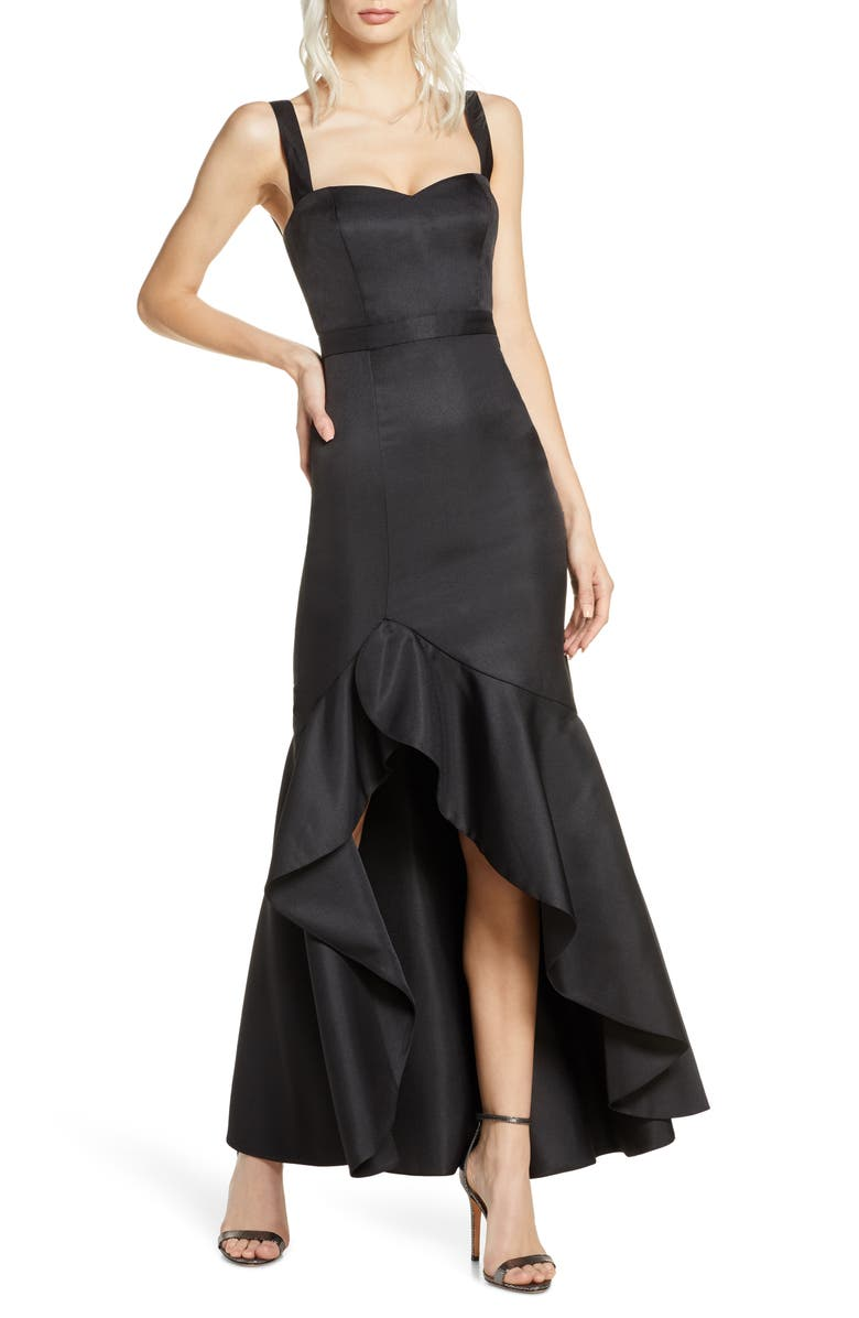 FAME AND PARTNERS The Florence Ruffle High/Low Gown, Main, color, 001
