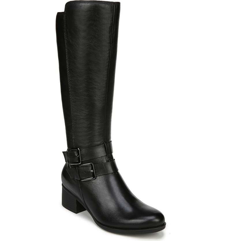 NATURALIZER Dale Waterproof Knee High Boot, Main, color, BLACK LEATHER