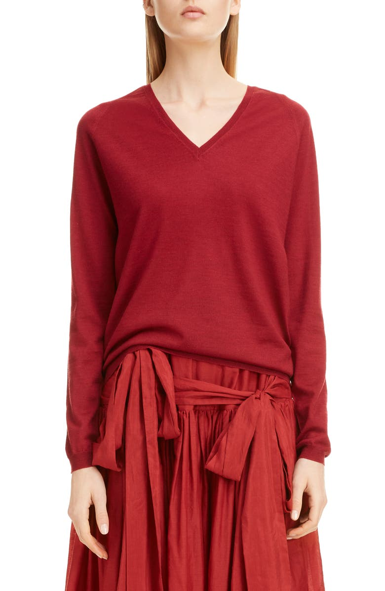 SARA LANZI Wool V-Neck Sweater, Main, color, 930