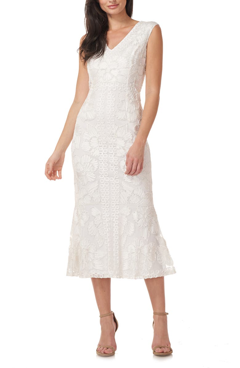 JS COLLECTIONS Beaded V-Neck Midi Dress, Main, color, WHITE