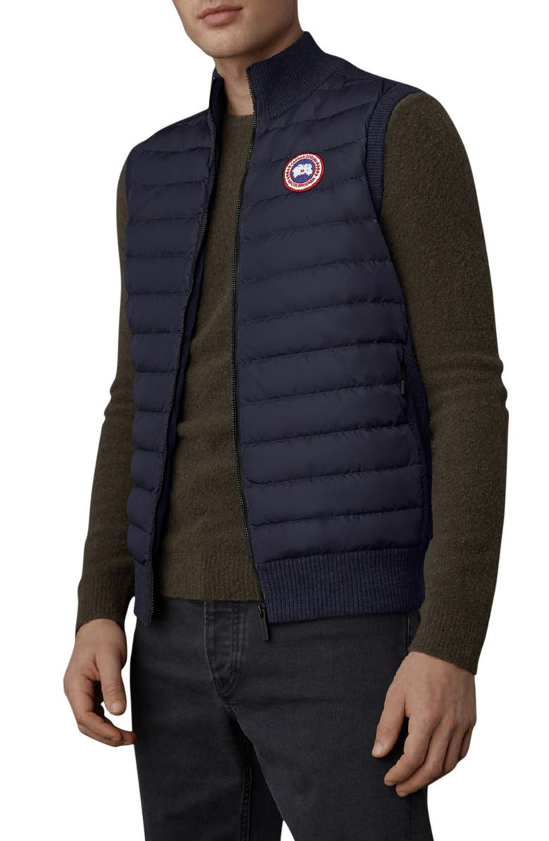 CANADA GOOSE Hybridge Knit Quilted Down Vest, Main, color, NAVY
