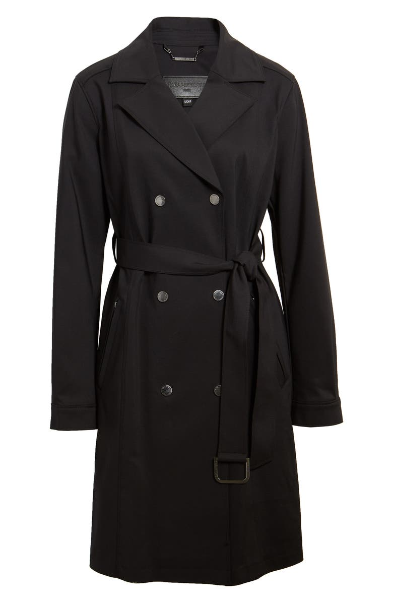 KARL LAGERFELD PARIS Double Breasted Trench Coat, Main, color, BLACK