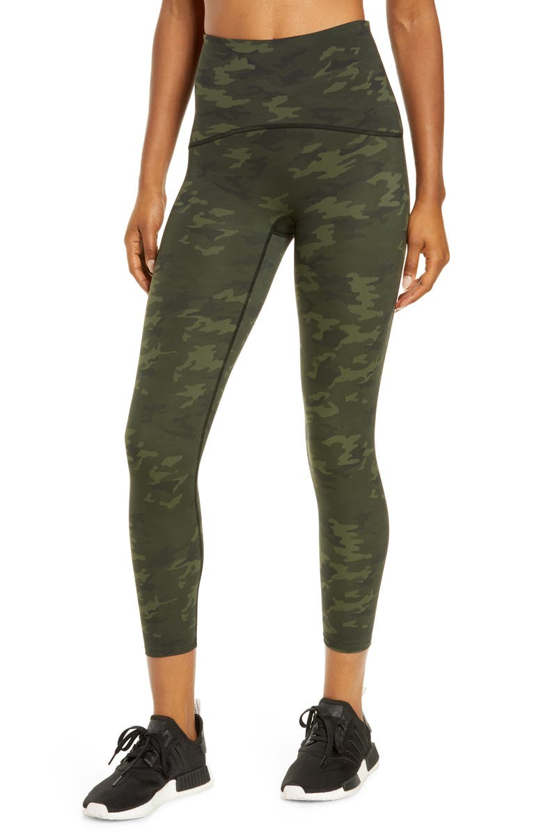SPANX<SUP>®</SUP> Booty Boost Active Print 7/8 Leggings, Main, color, GREEN CAMO