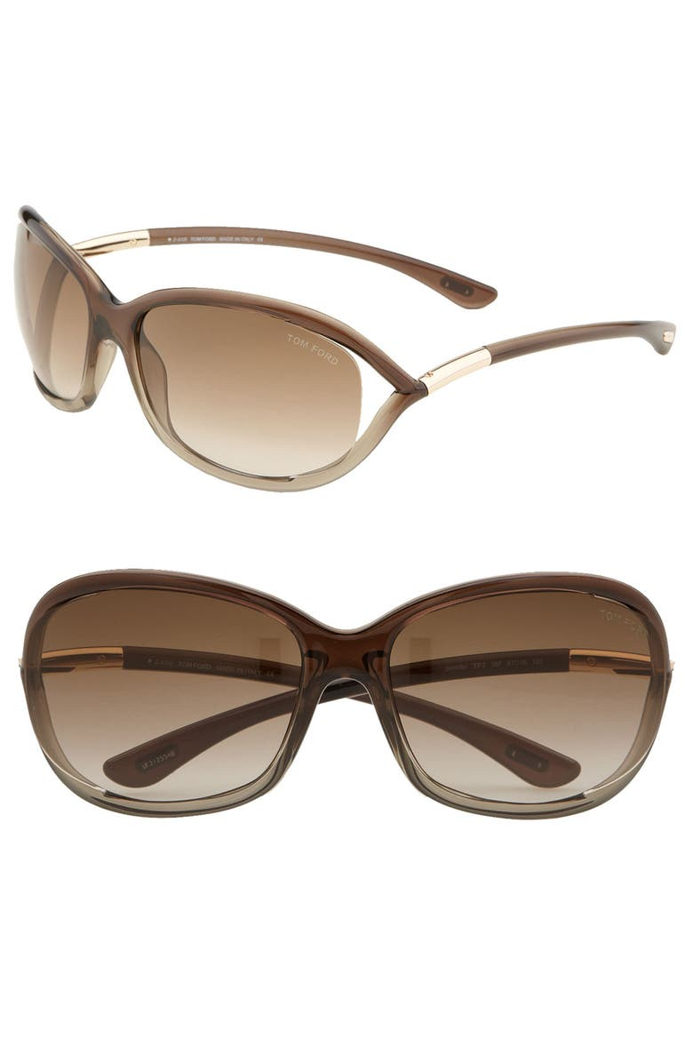 TOM FORD Jennifer 61mm Oval Oversize Frame Sunglasses, Main, color, BROWN / BRONZE