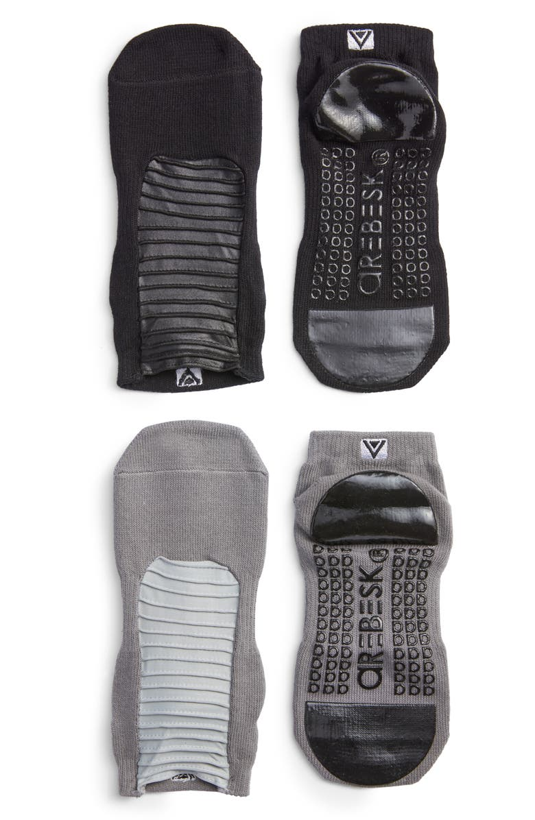AREBESK Moto Assorted 2-Pack Closed Toe Ankle Socks, Main, color, BLACK / GRAY