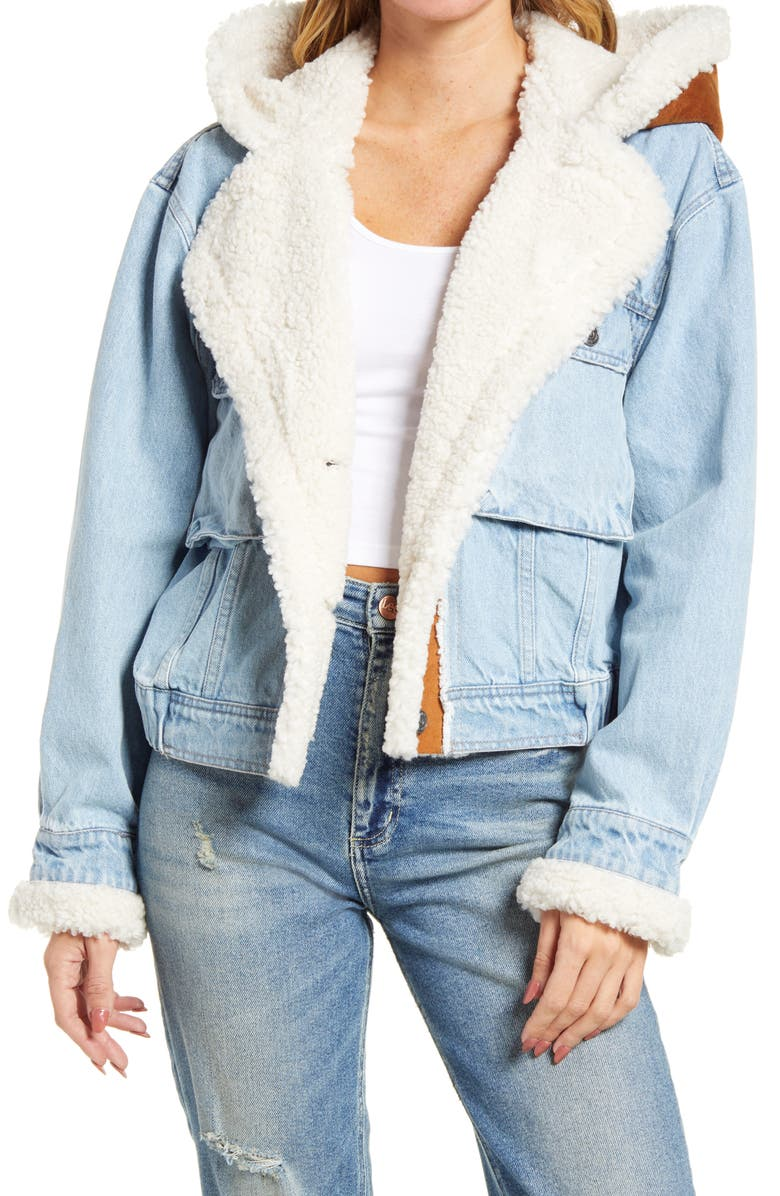 FREE PEOPLE Perry Hooded Denim Jacket, Main, color, 400
