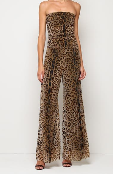 Leopard Print Strapless Mesh Jumpsuit, video thumbnail