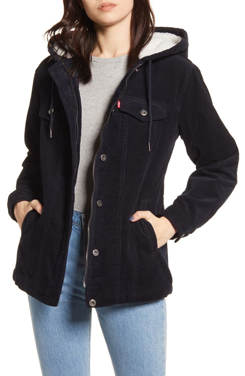 LEVI'S<SUP>®</SUP> Hooded Corduroy Trucker Jacket with Faux Shearling Lining, Main, color, 410