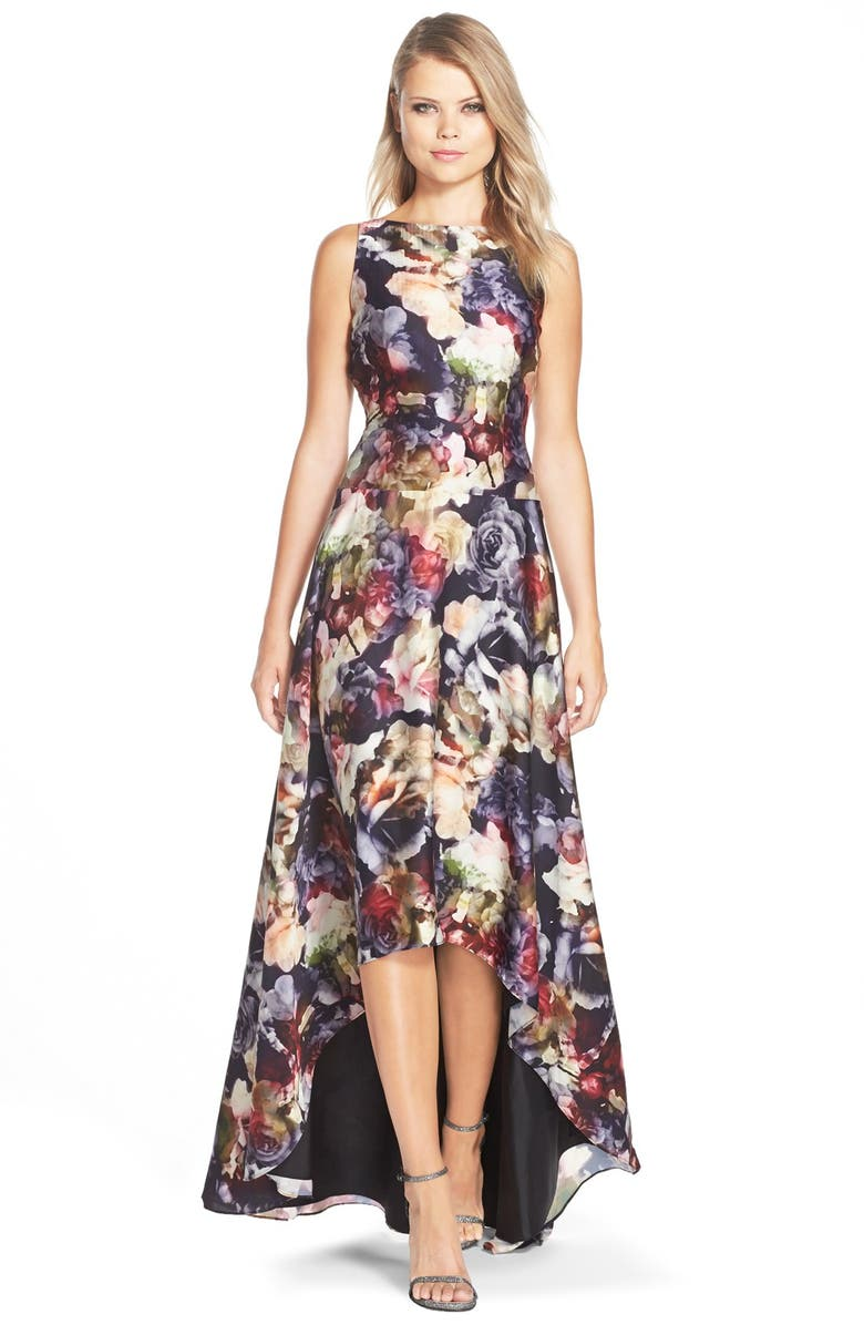 ADRIANNA PAPELL Floral Print Charmeuse Fit & Flare Gown, Main, color, 643