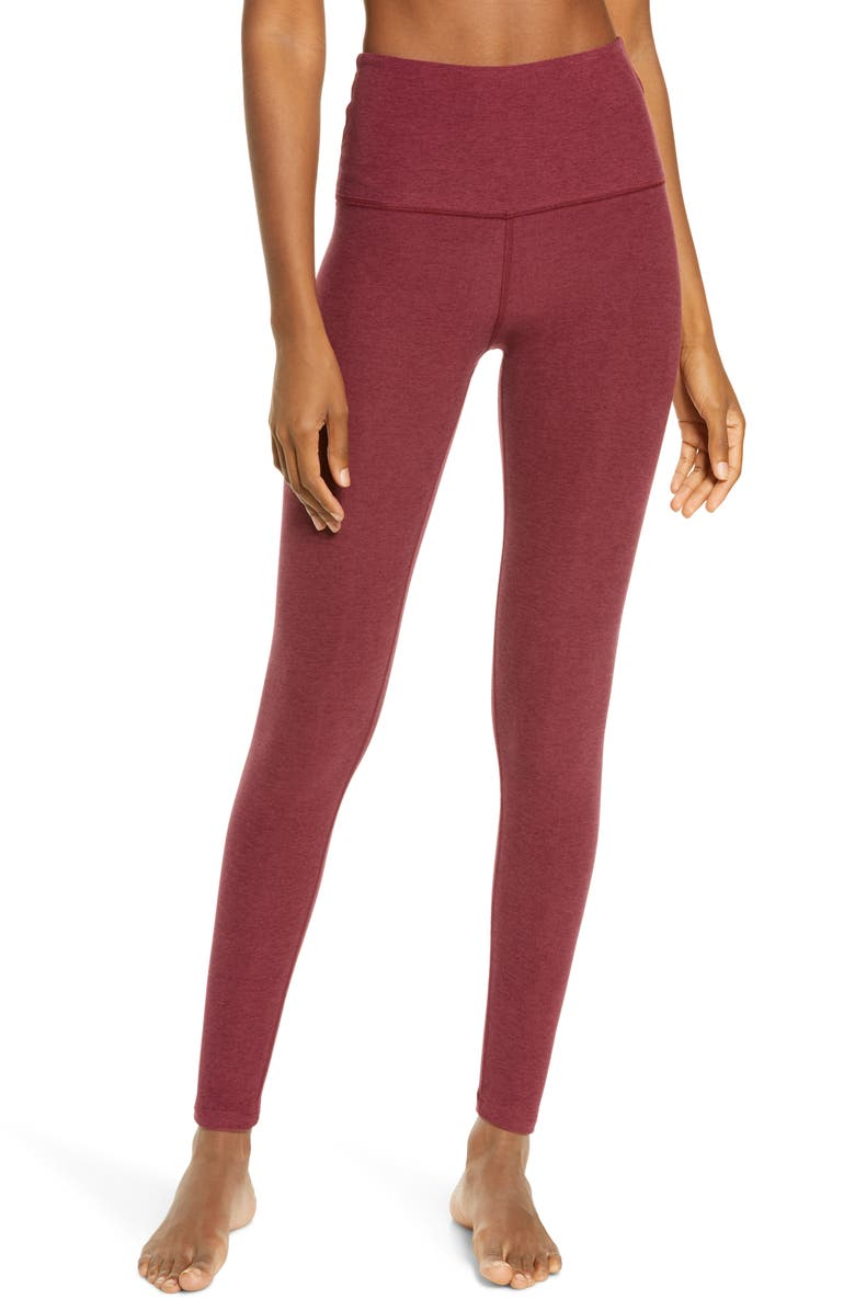 BEYOND YOGA Midi High Waist Leggings, Main, color, DEEP MERLOT