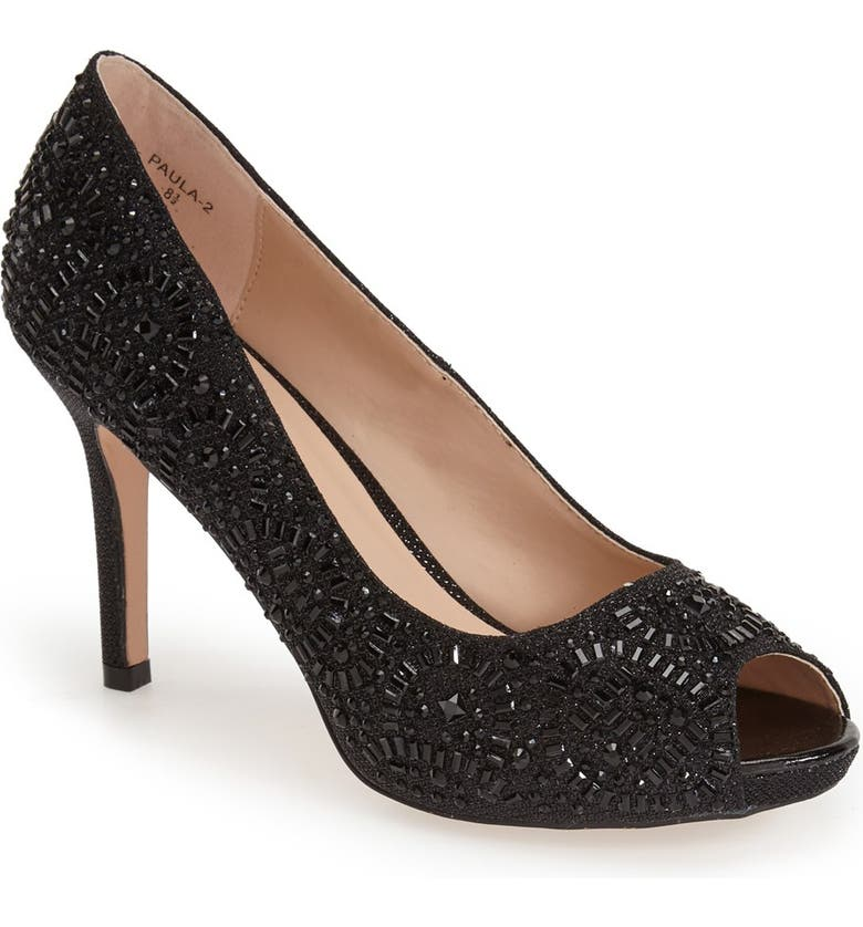LAUREN LORRAINE 'Paula' Crystal Peep Toe Pump, Main, color, 002