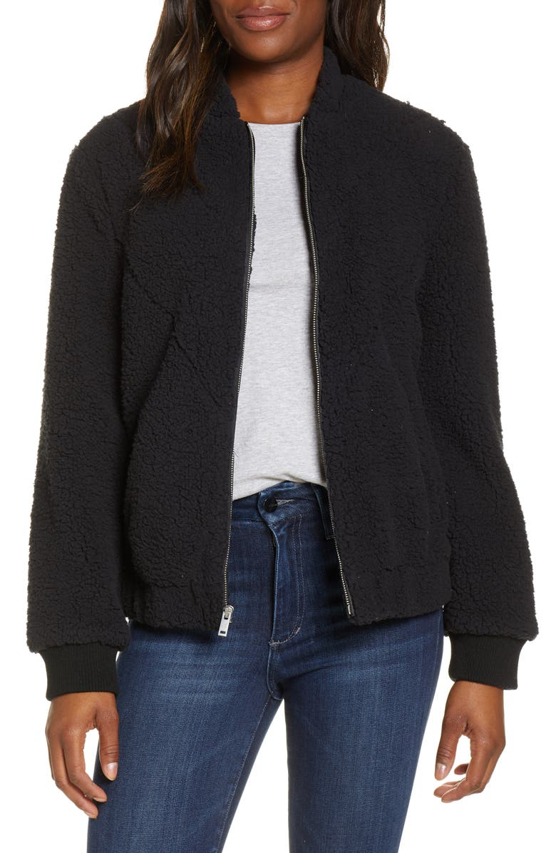 UGG<SUP>®</SUP> Annalise Faux Shearling Teddy Jacket, Main, color, 001