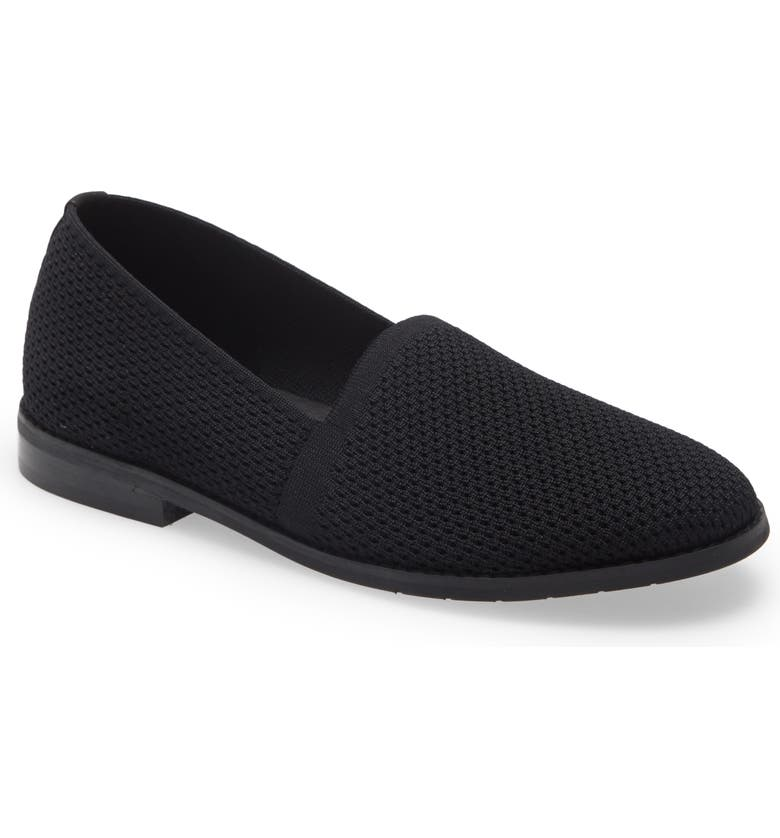 EILEEN FISHER Demi Knit Flat, Main, color, BLACK STRETCH KNIT