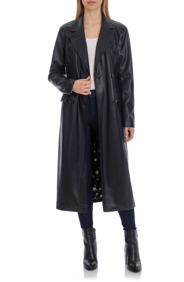 AVEC LES FILLES Double Breasted Faux Leather Trench Coat, Main, color, BLACK