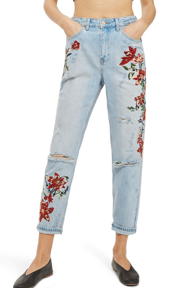 TOPSHOP Fire Flower High Rise Ripped Mom Jeans, Main, color, 420