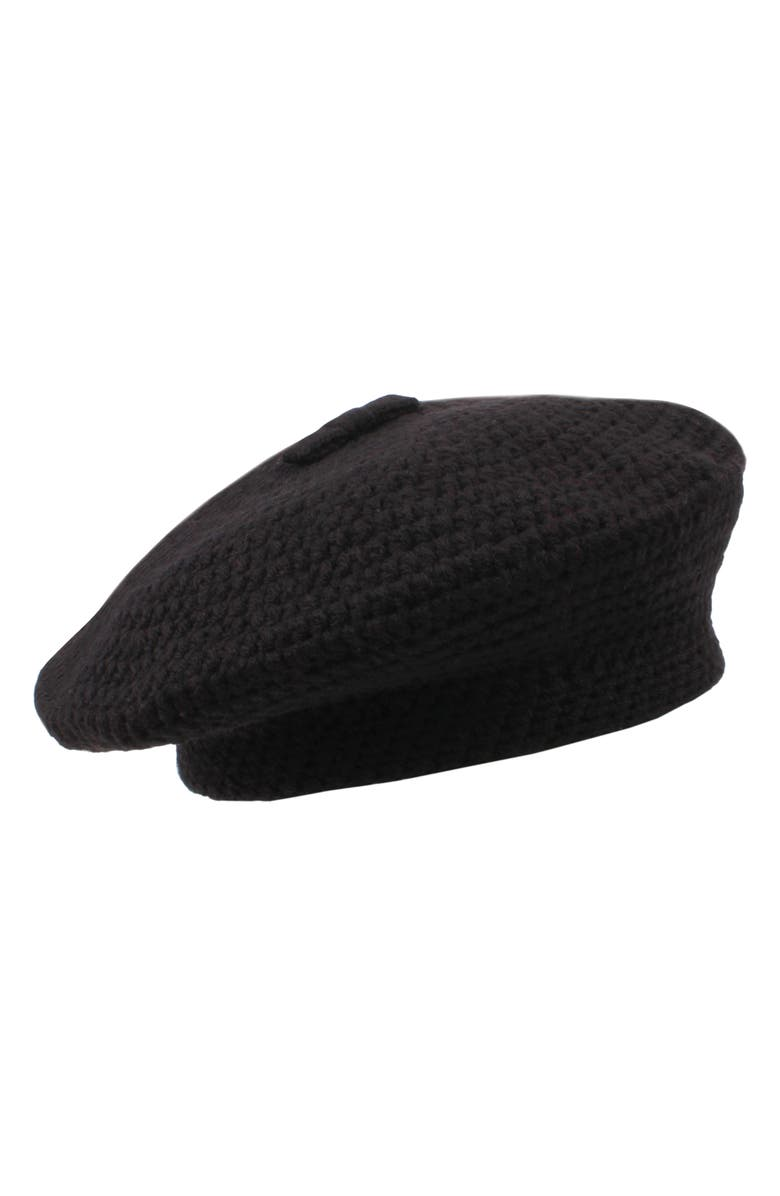 KATE SPADE NEW YORK crocheted beret, Main, color, BLACK