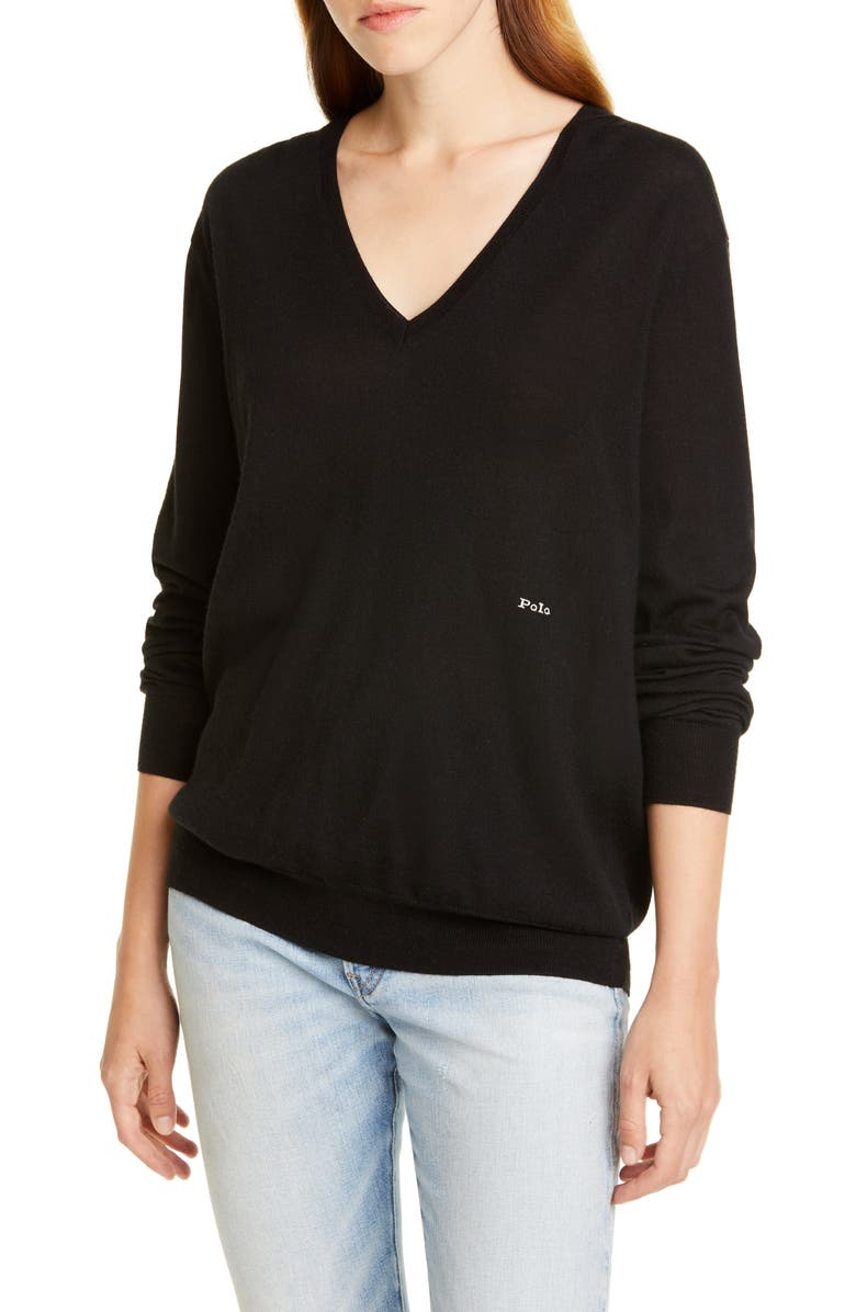 POLO RALPH LAUREN V-Neck Wool, Silk & Cashmere Sweater, Main, color, 001