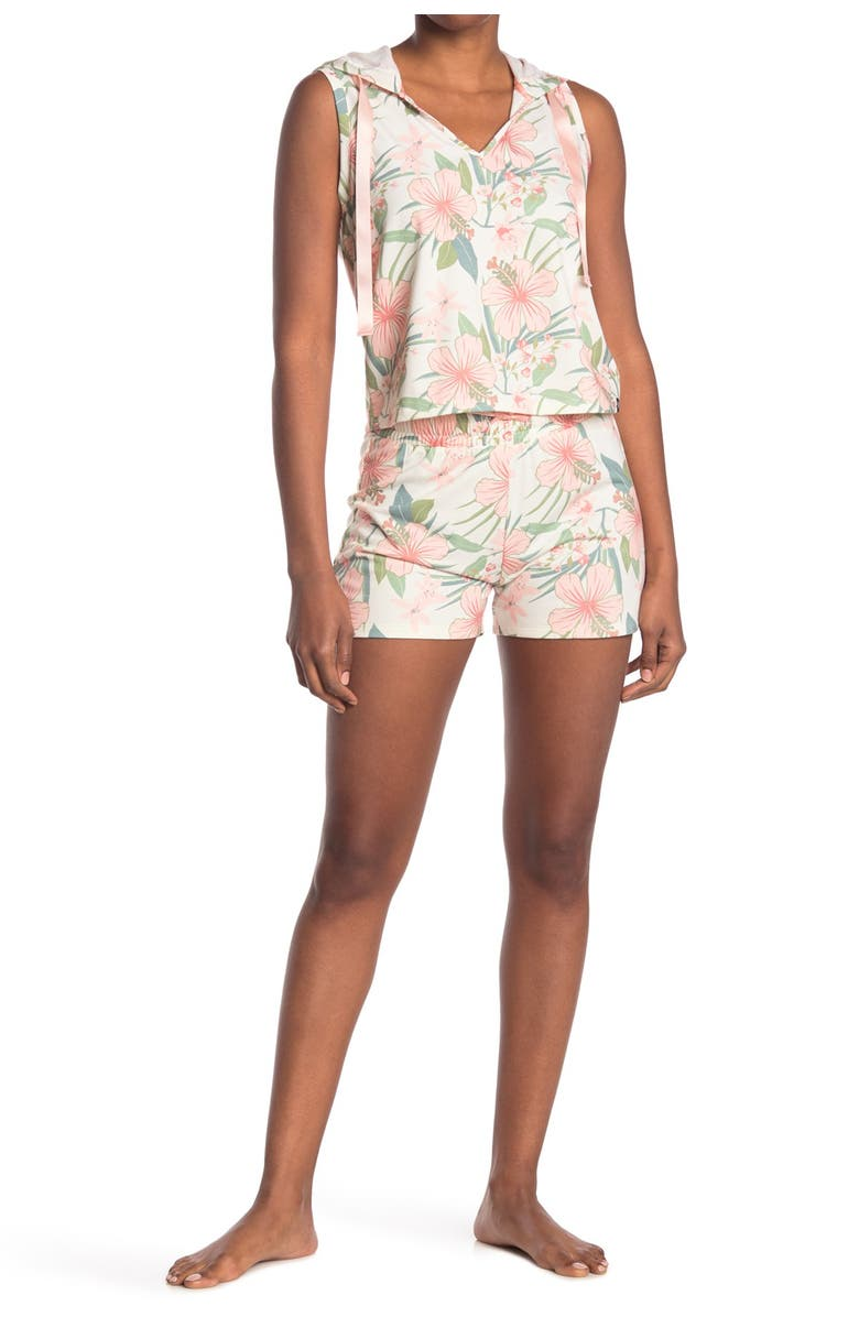 COZY ROZY Vacay Vibes Floral Sleeveless Hoodie & Shorts 2-Piece Pajama Set, Main, color, WHITE