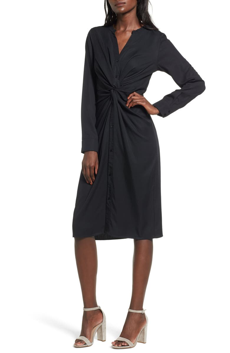 EVERLY Twist Front Shirtdress, Main, color, 001