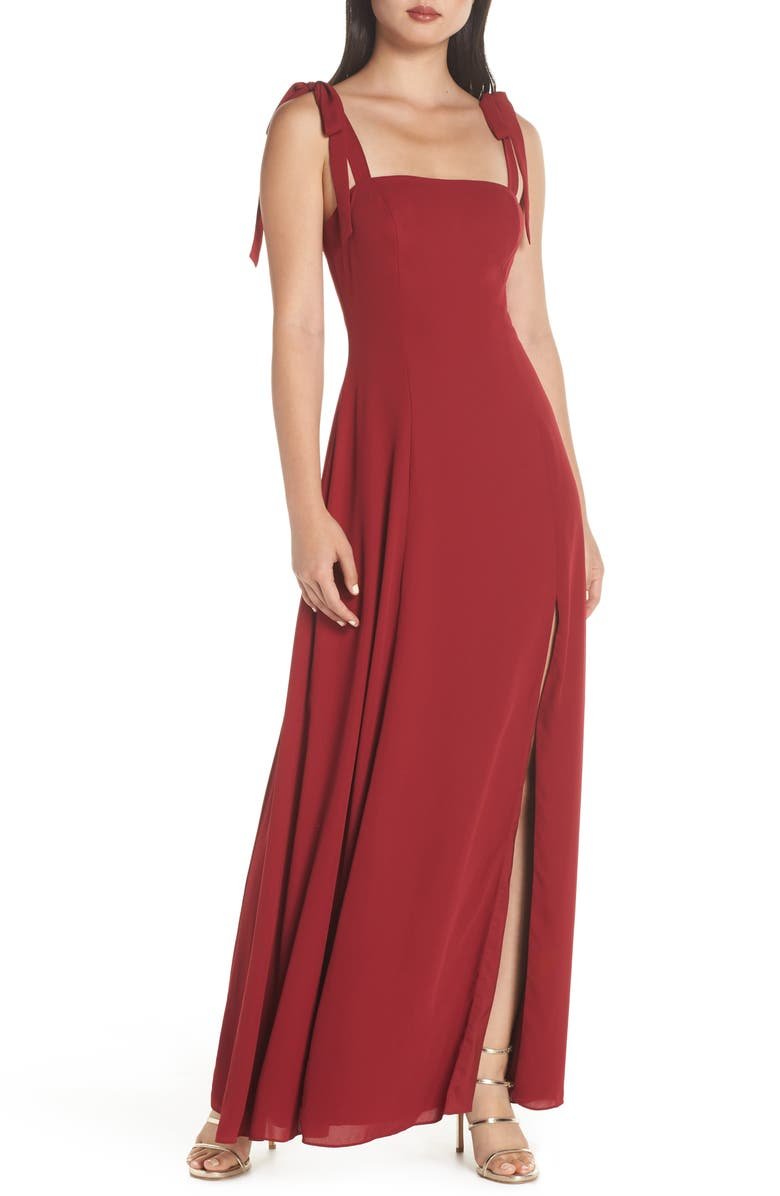 FAME AND PARTNERS Tie Shoulder A-Line Gown, Main, color, BURGUNDY
