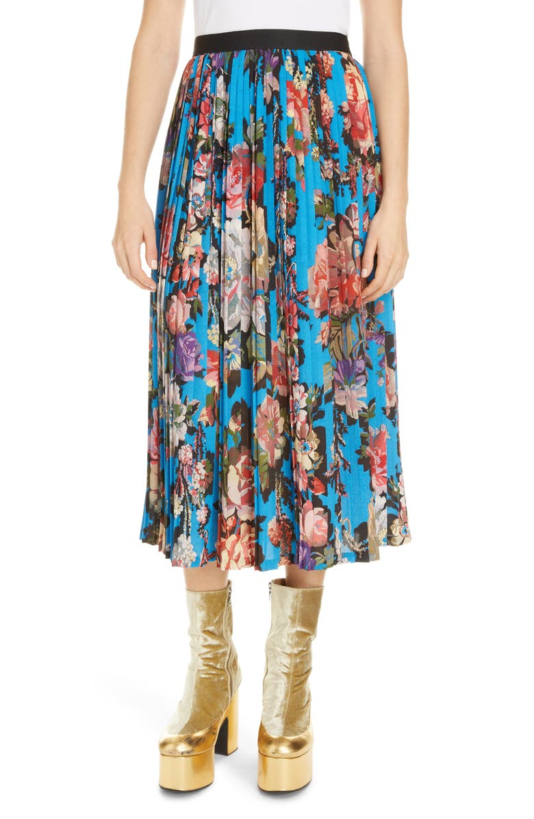DRIES VAN NOTEN Saram Floral Pleated Midi Skirt, Main, color, 400