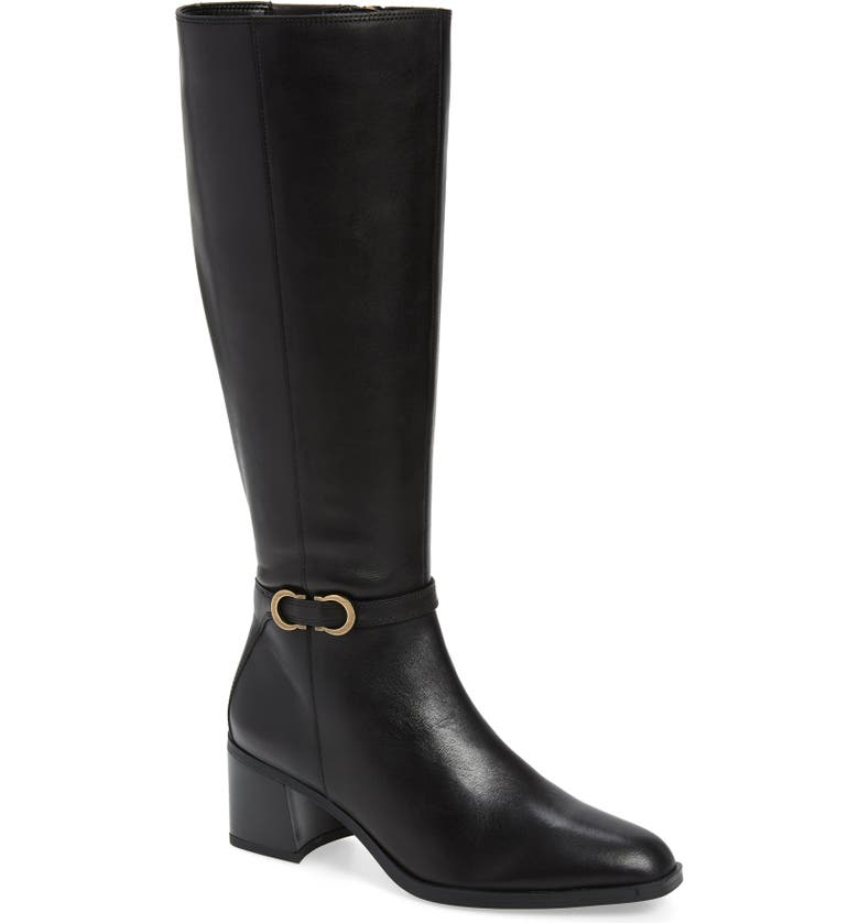 NATURALIZER Sterling Knee High Boot, Main, color, BLACK LEATHER