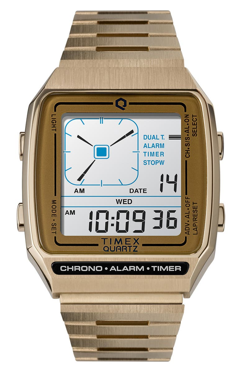 TIMEX<SUP>®</SUP> Q Timex Reissue Digital Bracelet Watch, 32.5mm, Main, color, ROSE GOLD