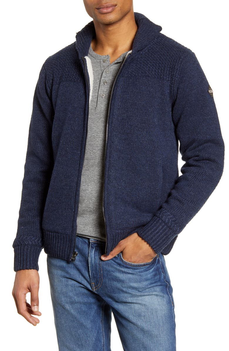 SCHOTT NYC Lined Wool Zip Sweater, Main, color, NAVY