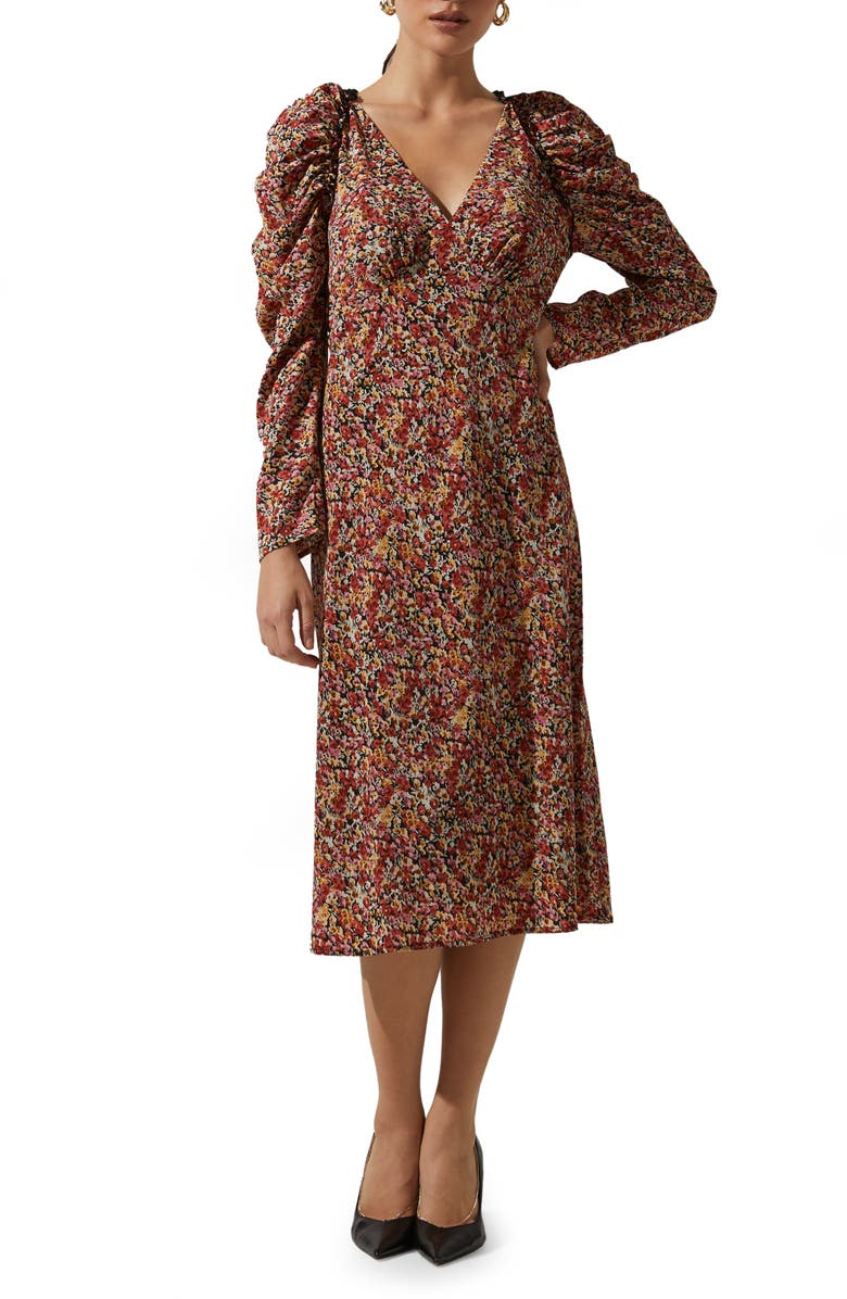ASTR THE LABEL Floral Ruched Long Sleeve Midi Dress, Main, color, BLACK-RED MULTI FLORAL
