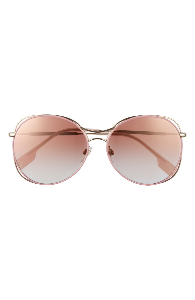 BURBERRY 60mm Gradient Round Sunglasses, Main, color, GOLD/GRADIENT PINK MIRROR