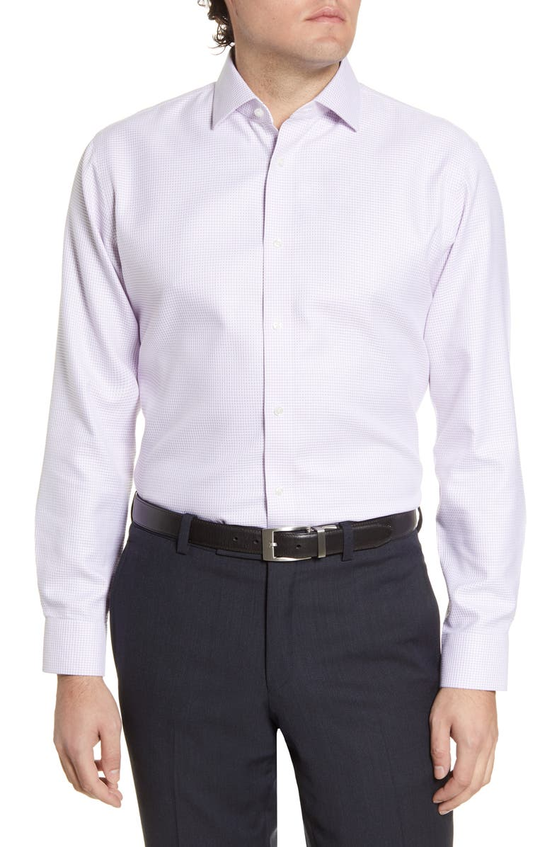 NORDSTROM Men's Shop Trim Fit Non-Iron Houndstooth Dress Shirt, Main, color, 510