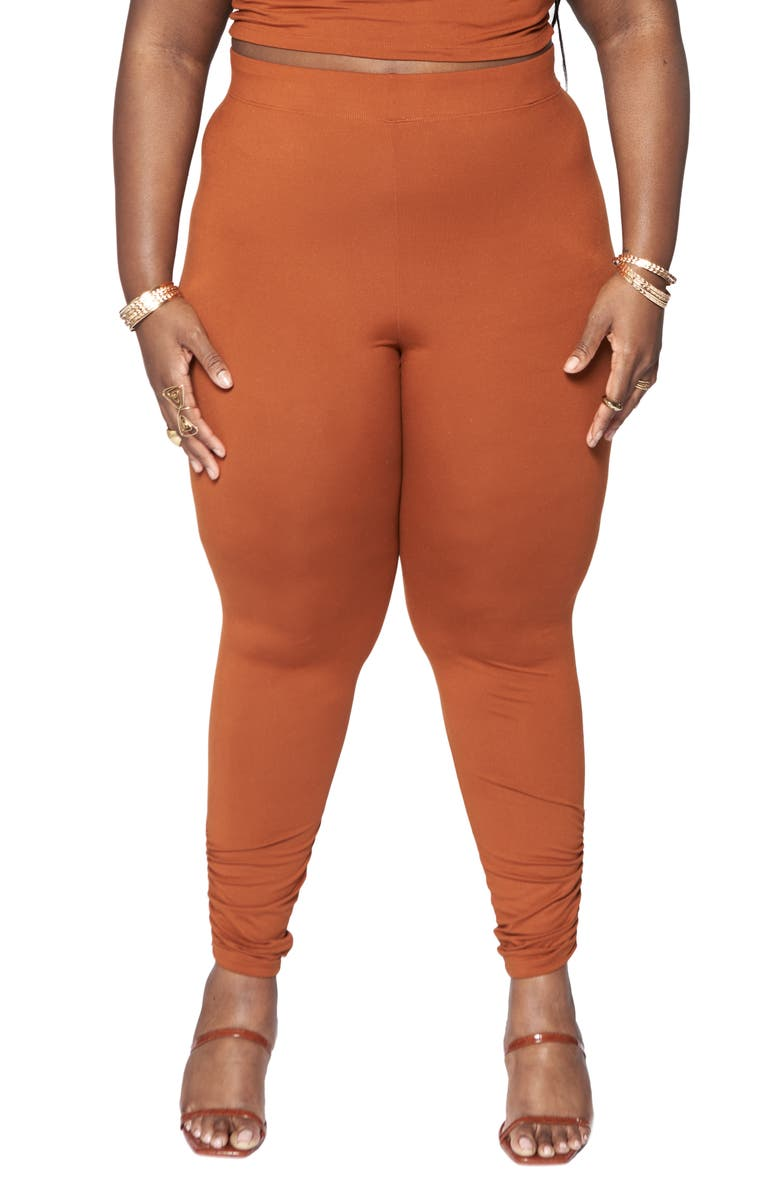 ZELIE FOR SHE Oasis Ruched Leggings, Main, color, CHOCOLATE