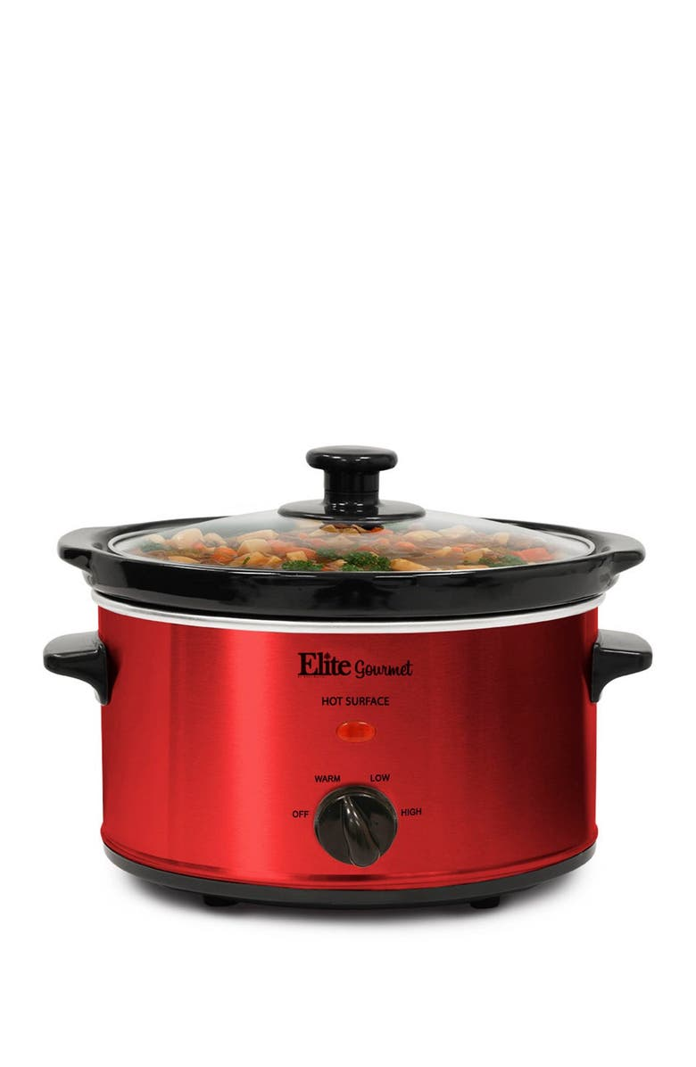 MAXI-MATIC Gourmet MST-275XR 2-Qt. Oval Slow Cooker - Red, Main, color, RED