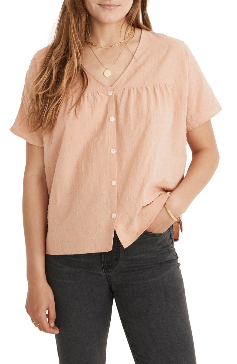 MADEWELL Swiss Dot V-Neck Blouse, Main, color, ANTIQUE CORAL