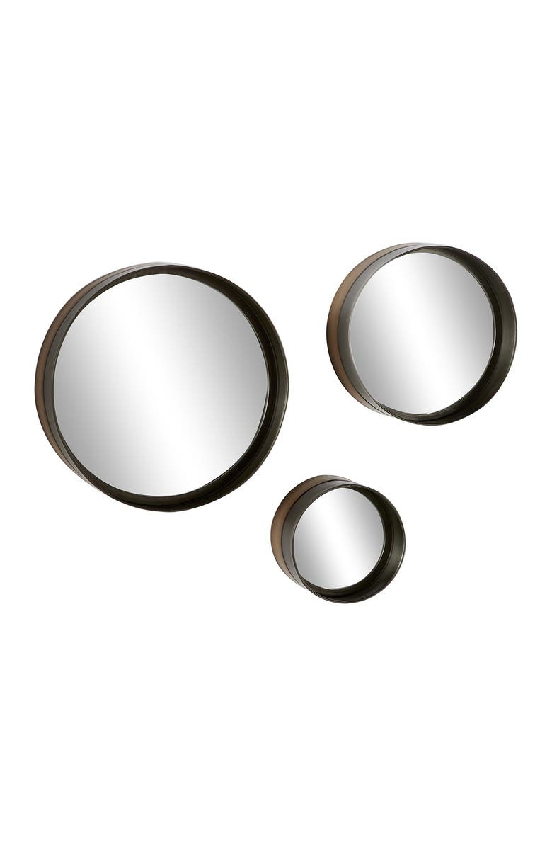 """WILLOW ROW Round Black And Bronze Rimmed Metal Wall Mirrors - Set of 3: 16"""" - 12"""" - 8"""", Main, color, BLACK"""