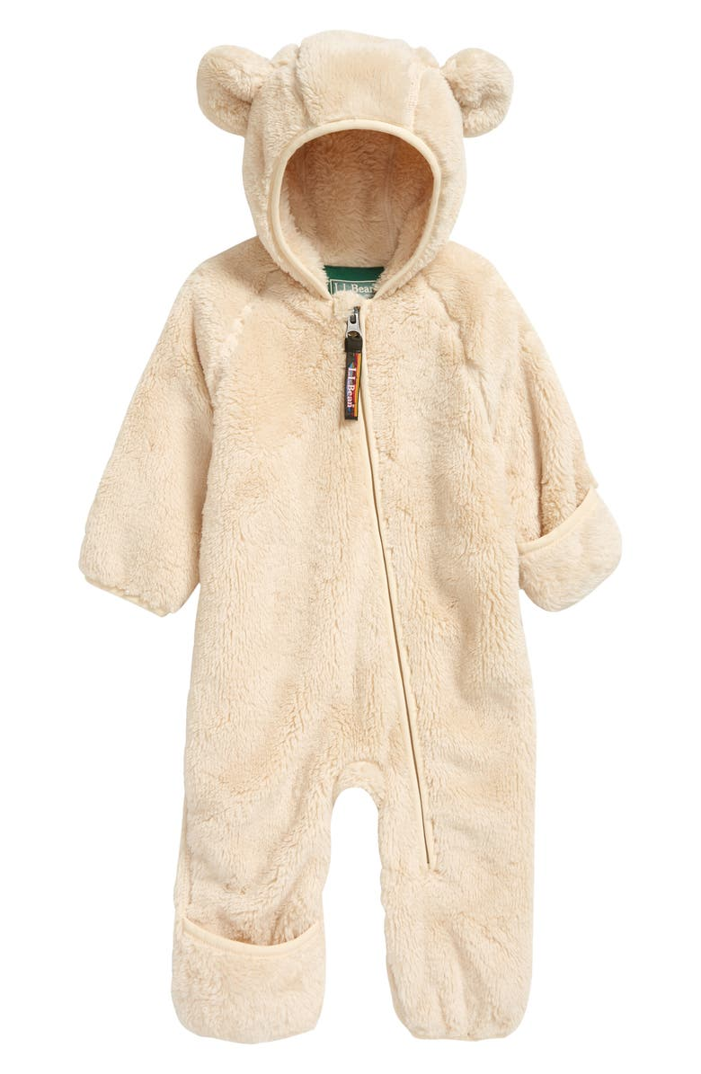 L.L.BEAN High Pile Fleece Hooded Bunting, Main, color, NATURAL