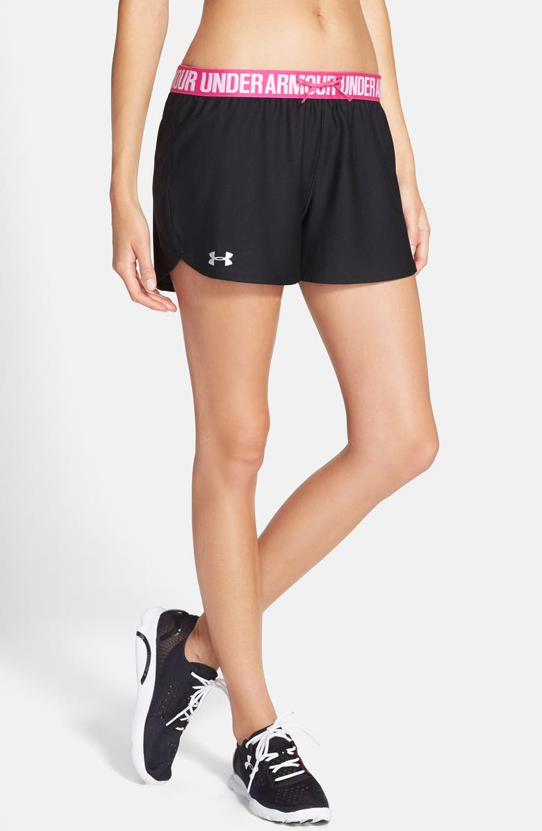 UNDER ARMOUR 'Play Up' Track Shorts, Main, color, BLACK/ REBEL PINK